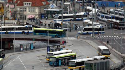 Pinapparaten in bus en trams van het GVB in Amsterdam