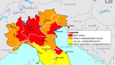 Reisadvies code rood voor Noord-Italië