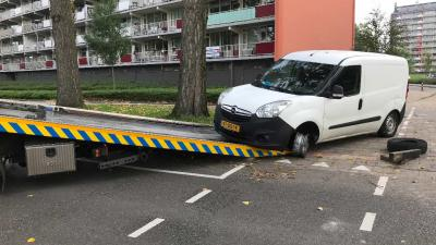 Auto ramt wegafsluiting in Schiedam