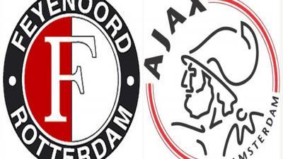 Foto van logo's van Feyenoord en Ajax   Feyenoord/Ajax
