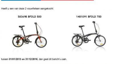 Waarschuwing voor een vouwfiets die tijdens het fietsen kan 'vouwen'