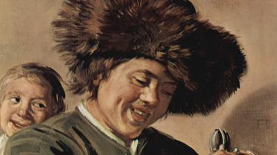 Schilderij lachende jongens