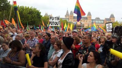foto van demo onderdrukking homo's in Rusland. | Miranda van der Sloot