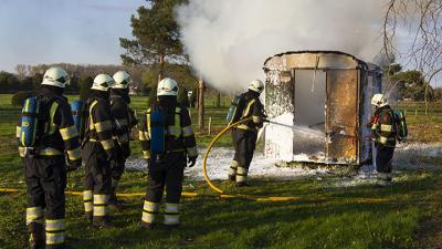 foto van bouwkeet in brand | Sander van Gils | www.persburosandervangils.nl