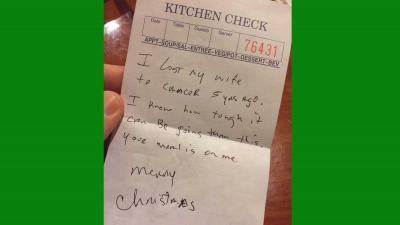 Diner moeder met borstkanker onverwacht betaald door 'lotgenoot'