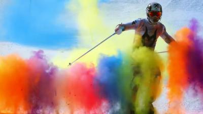 Kampioen alpineskiën met Nederlands bloed zorgt voor fantastisch kleurenschouwspel