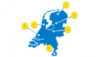 Foto van kaart Nederland met eurotekens