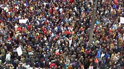 Foto van demonstrerende menigte | Archief EHF