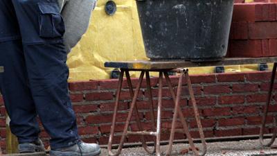 Foto van metselen muurtje aanbouw | Archief EHF