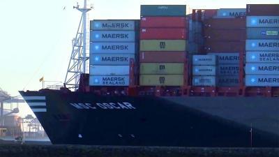 Grootste containerschip MSC aangekomen in Rotterdamse haven