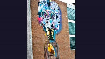 Nieuwe muurschildering aangebracht in Heerlen