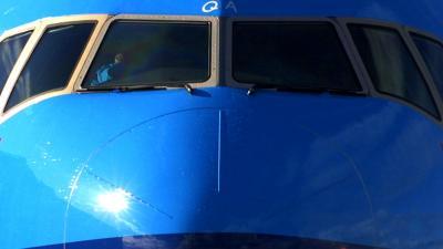 Foto van neus cockpit KLM vliegtuig | Archief EHF