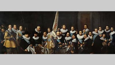 Foto van schilderij maaltijd schutters Pickenoy   Amsterdam Museum