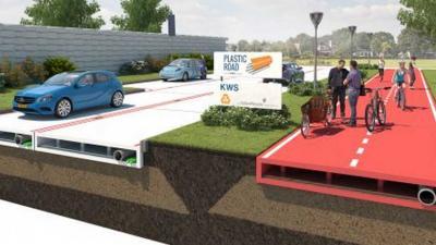 Bouwconcern ziet wel toekomst in plastic duurzame wegen