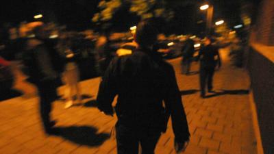 Foto van agenten in donker op straat | Archief EHF