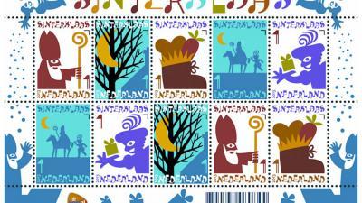 Foto van postzegel sint en piet   PostNL