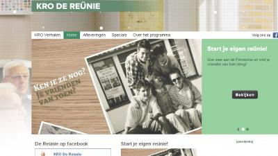 Screenshot van website De Reunie | KRO