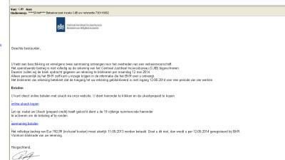 Foto van valse phishing mail CJIB | Archief EHF