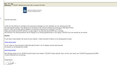 Foto van valse phishing mail CJIB | Archief EHF