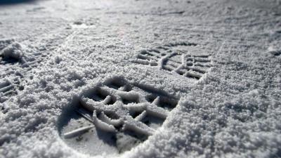 voetspoor in de sneeuw