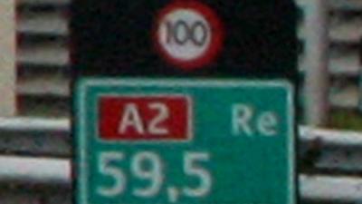 Foto van maximumsnelheid 100 km/h snelweg A2   Archief EHF