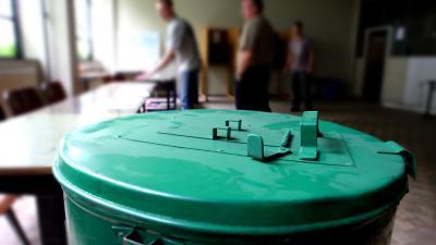 Foto van stembus in stemlokaal tijdens verkiezingen | Archief EHF