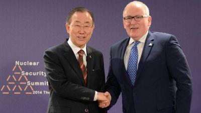 Foto van Ban Ki-moon en Timmermans | RVD