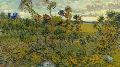 Foto van schilderij 'Zondsondergang bij Montmajour' van Vincent van Gogh   Van Gogh museum