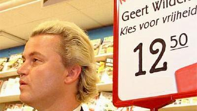 Foto van Geert Wilders in boekhandel | Archief EHF