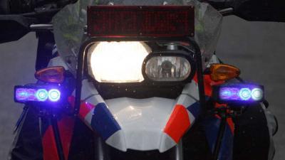 Foto van blauwe zwaailichten op motor | Archief EHF